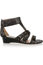 Lucy Choi London Highbury Metallic Snake Effect Suede Sandals
