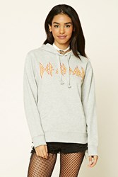 Forever 21 Def Leppard Band Hoodie Heather Grey Red