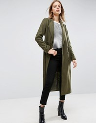 Asos Coat In Wool Blend With Military Detail Khaki Green