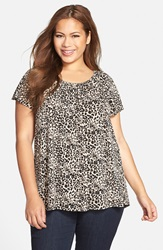 Vince Camuto 'Tribal Leopard' Peasant Top Plus Size Rich Black