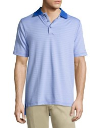 Bobby Jones Striped Short Sleeve Polo Shirt Blue