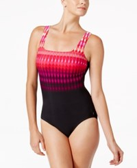 Reebok Trailblazer Tribal Stripe Active One Piece Swimsuit Women's Swimsuit Pink