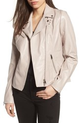 Lamarque Asymmetrical Zip Leather Biker Jacket Pink Tinged