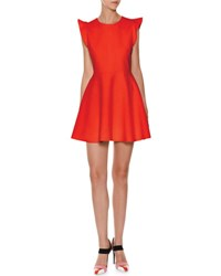 Msgm Sleeveless Ruffle Trim Ponte Fit And Flare Dress Red
