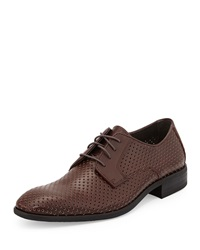 Neiman Marcus Firenze Perforated Leather Derby Shoe Burgundy