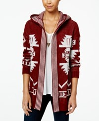 Hippie Rose Juniors' Hooded Aztec Cardigan Spiced Rum