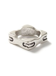 Topman Burnished Silver Look Curved Square Ring