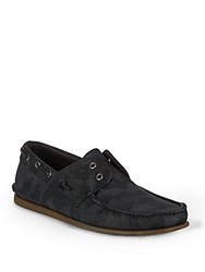 John Varvatos Schooner Round Toe Boat Shoes Dark Charcoal
