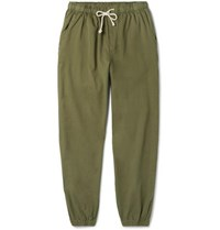Mollusk Jeffrey Tapered Cotton Twill Drawstring Trousers Army Green
