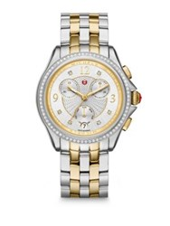 Michele Sport Chronograph Diamond And Two Tone Stainless Steel Bracelet Watch Silver Gold