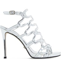 Dune Meemie Metallic Caged High Heel Sandals Silver Metallic