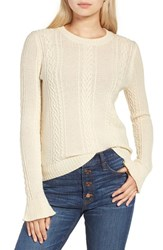 J.Crew Women's Ruffle Sleeve Cable Crewneck Sweater