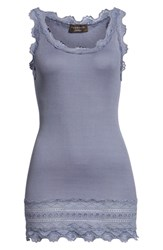 Rosemunde Silk And Cotton Rib Knit Tank Asphalt Blue