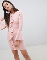 Girls On Film Ruffle Front Bodycon Dress Pink
