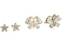Betsey Johnson Cubic Zirconia Butterfly Flower Duo Stud Earrings Crystal Gold Plate Earring