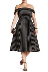 Abs By Allen Schwartz Off The Shoulder Pinstripe Dress Plus Size Black