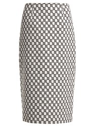 Mary Katrantzou Sigma Geometric Jacquard Pencil Skirt Black White