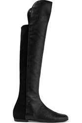 Giuseppe Zanotti Paneled Leather And Suede Knee Boots Black