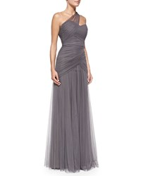 Monique Lhuillier Bridesmaids One Shoulder Draped Tulle Gown Slate Grey