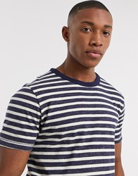 Selected Homme Organic Cotton Heavy Washed Bretton Stripe T Shirt In Navy