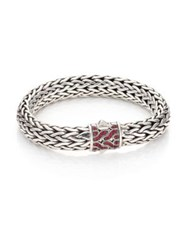John Hardy Classic Chain Red Sapphire And Sterling Silver Large Bracelet Silver Red Sapphire