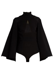 Balmain High Neck Sheer Panelled Crepe Cape Black