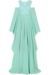 Rosamosario Il Paradiso Puo' Attendere Cold Shoulder Lace And Silk Georgette Nightdress Sky Blue