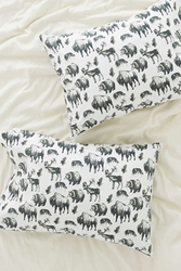 Urban Outfitters Dionne Kitching Woodland Creatures Pillowcase Set Black And White