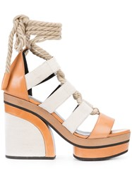 Pierre Hardy Lace Up Platform Sandals Women Leather Rubber 38 Brown