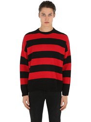The Kooples Distressed Stripe Cashmere Blend Sweater Black Red