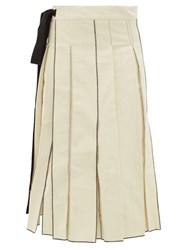 Sara Lanzi Pleated Cotton Twill Midi Skirt Ivory