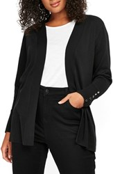 Evans Plus Size Button Cuff Open Cardigan Black