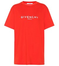 Givenchy Printed Cotton T Shirt Red