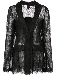 Vera Wang Sheer Lace Fitted Jacket Black