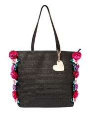 Betsey Johnson Gypsy Floral Straw Tote Black