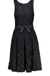 Badgley Mischka Pleated Guipure Lace Dress Black