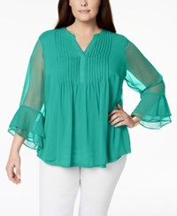 Charter Club Plus Size Pintucked Tunic Created For Macy's Acadia Green