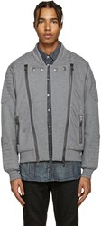 Balmain Pierre Grey Zip Up Moto Sweater