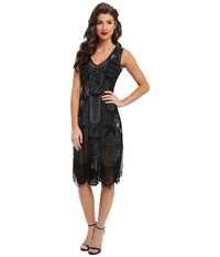 Unique Vintage The Bosley Beaded Fringed Flapper Dress Black Women's Dress