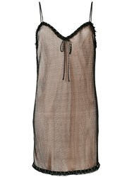 Miu Miu Layered Mesh Cami Dress Black