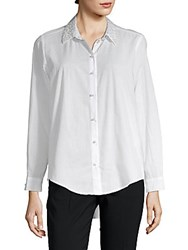 Saks Fifth Avenue Nicole Embellished Cotton Button Down Shirt White