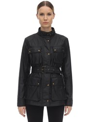 Belstaff Belted Waxed Cotton Jacket Black