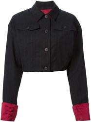 Dolce And Gabbana Vintage Pinstriped Cropped Jacket Black