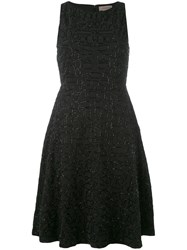 Tony Cohen Embroidered Shift Dress Black
