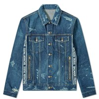Balmain Taped Logo Distressed Denim Jacket Blue