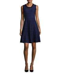 T Tahari Dotted Sleeveless Fit And Flare Dress Blue