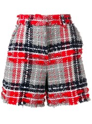 Thom Browne Oversized Tweed High Waist Shorts Red