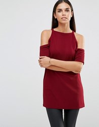Ax Paris Cold Shoulder Top Wine Purple