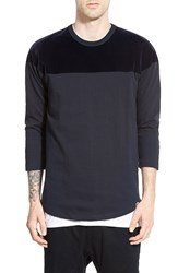 G Star Velvet Yoke Three Quarter Sleeve Crewneck T Shirt Dark Marine