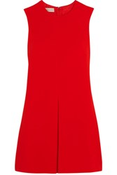 Stella Mccartney Daisy Pleated Crepe Mini Dress Tomato Red